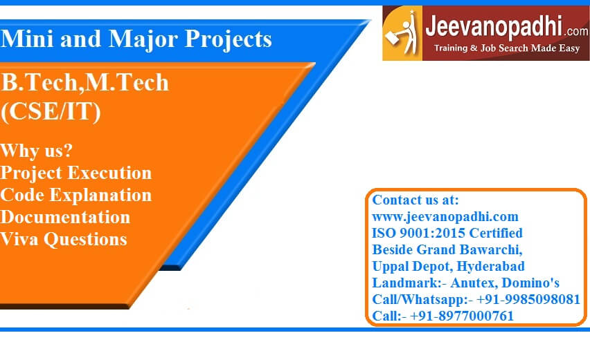 Best Institute For Mini And Major Project For Cseit Jeevanopadhi